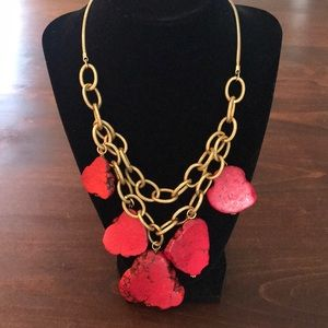 Coral stone and gold link necklace